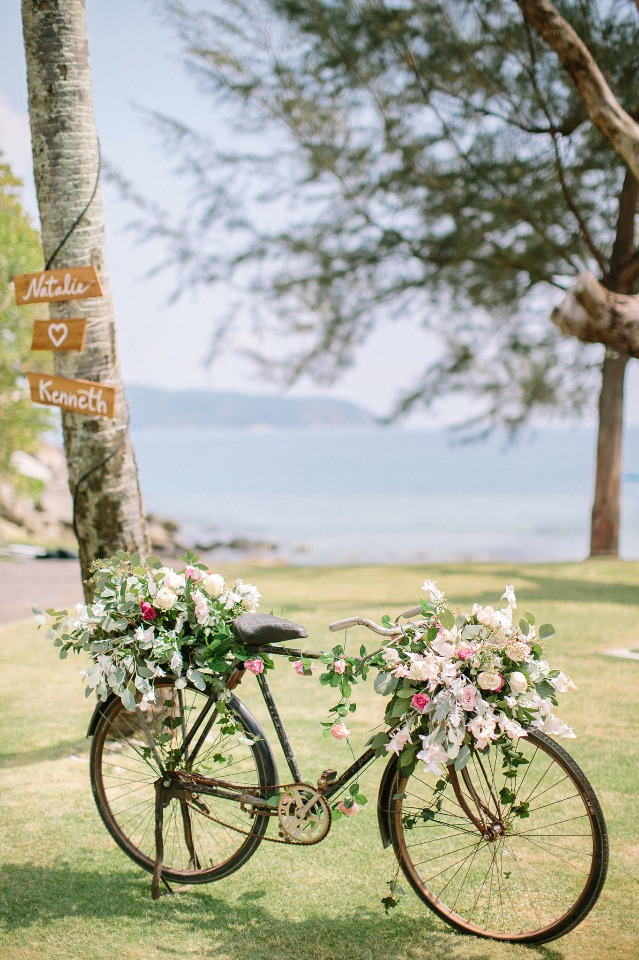 flower topped bicycle