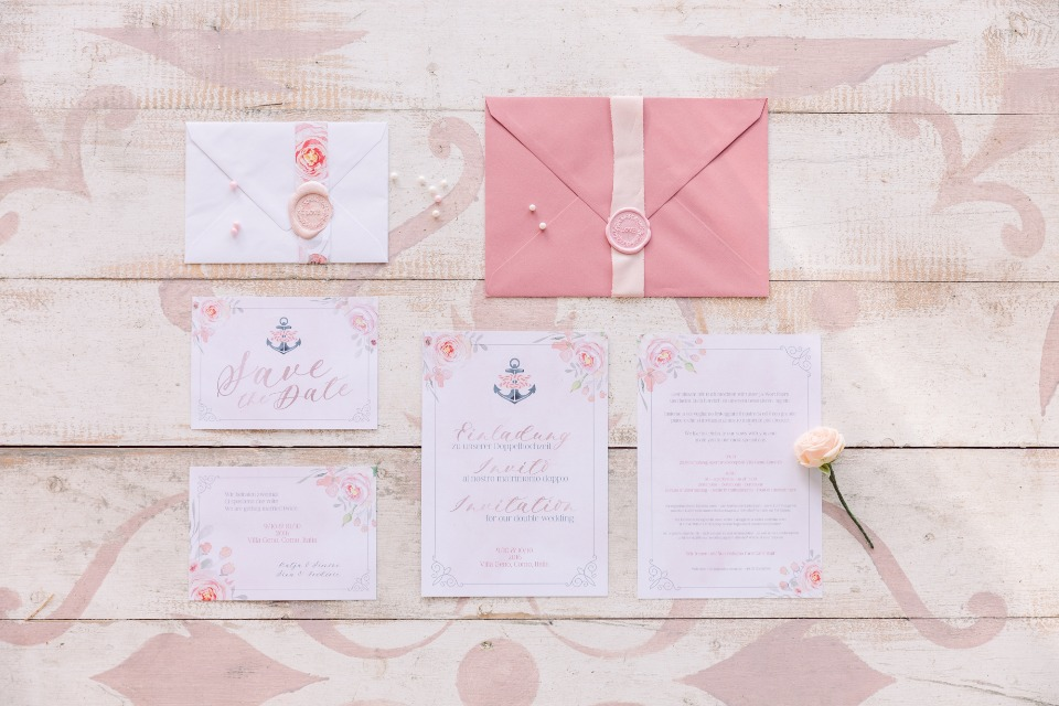 Pink floral invitation suite