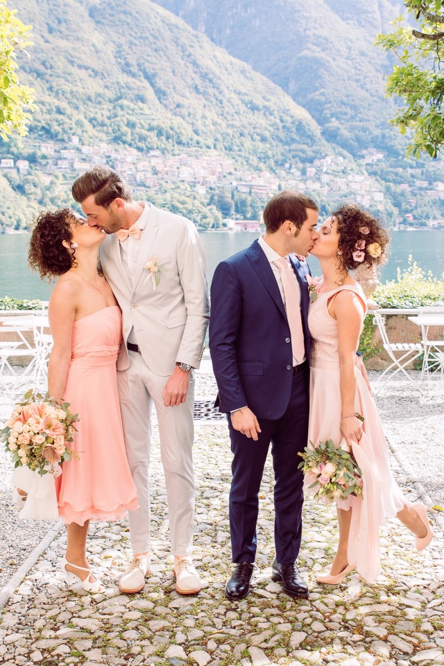 Romantic chic pink and gold twin sister double wedding in italy junglespirit Gallery