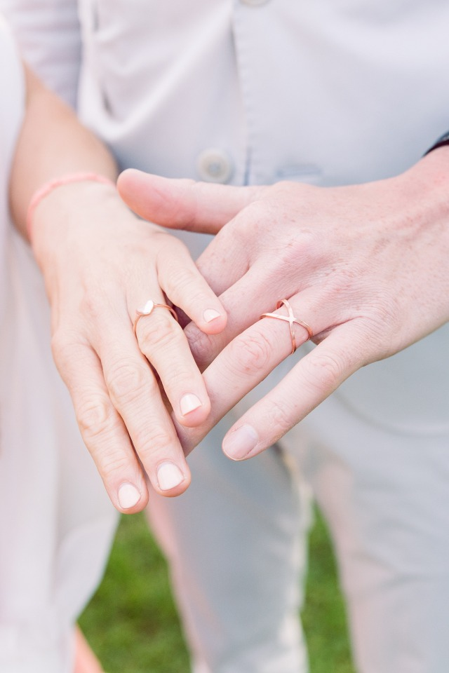 Rose gold rings for the bride and groom