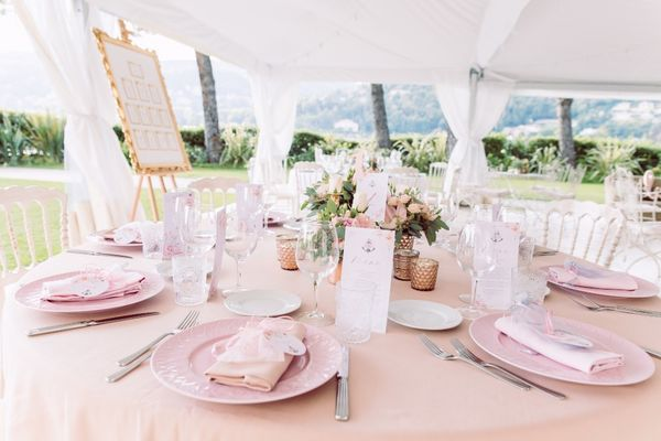 Romantic Chic Pink and Gold Twin-Sister Double Wedding In Italy