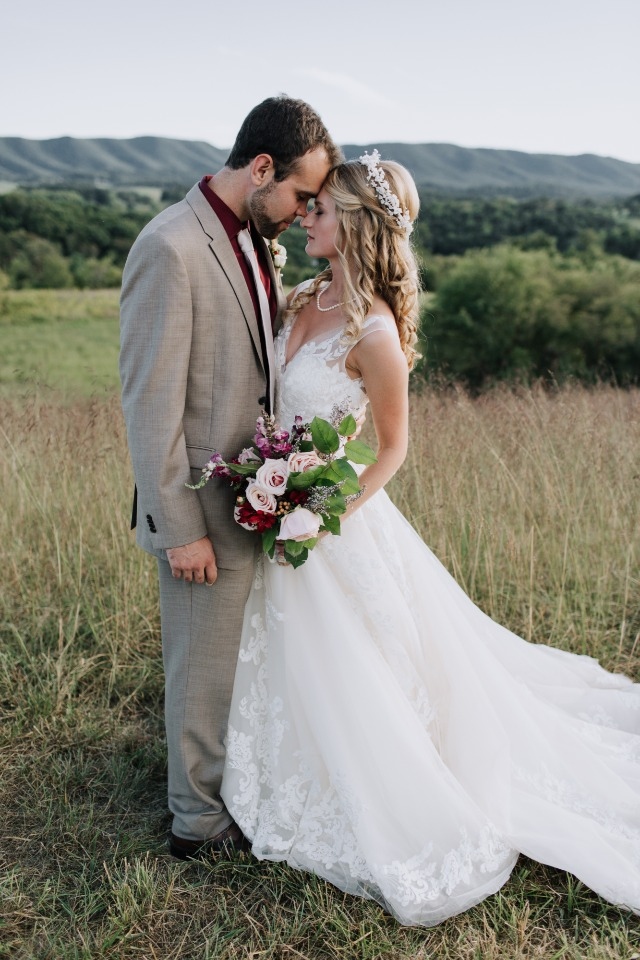 fall themed wedding couple
