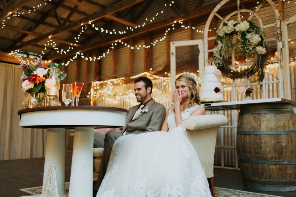 sweetheart table for your barn wedding