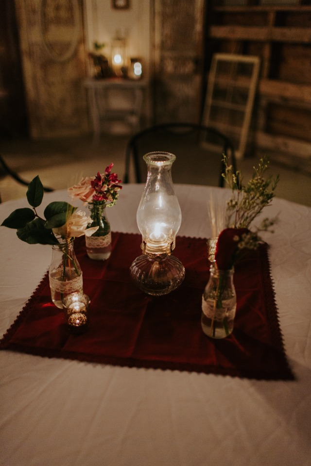 candle lit wedding reception decor