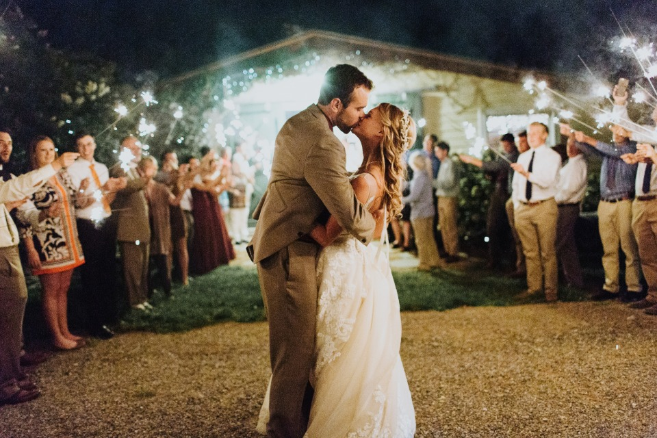 romantic sparkler wedding exit
