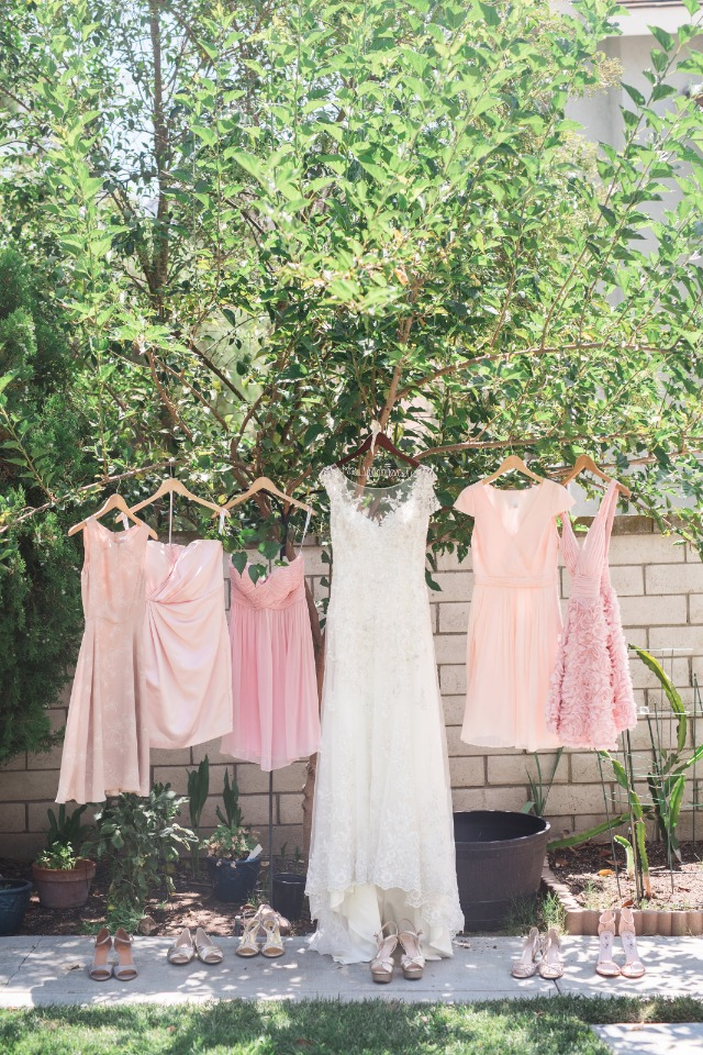 Mismatched bridesmaid dresses in blush