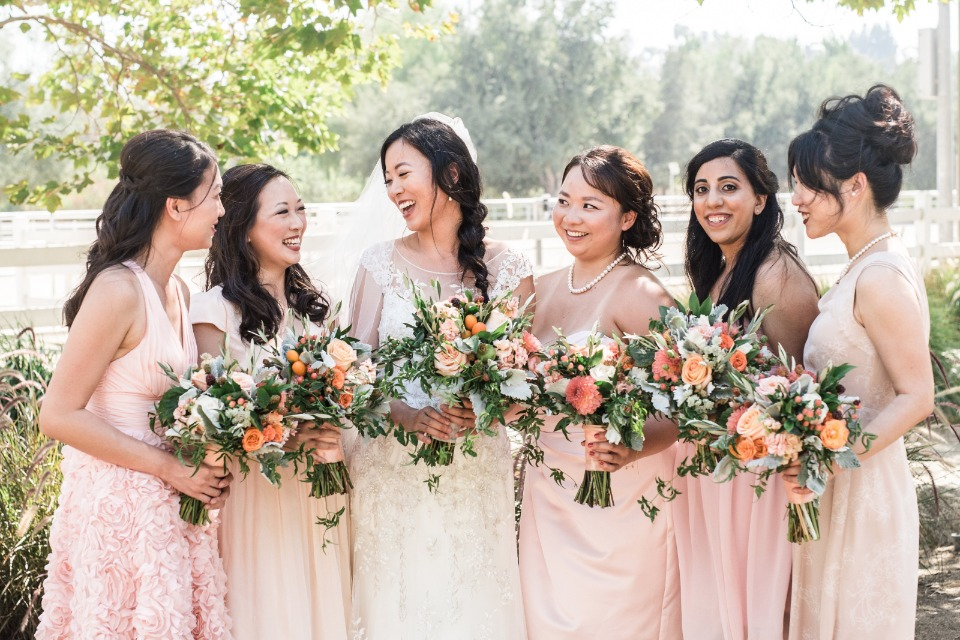 Mismatched bridesmaid look