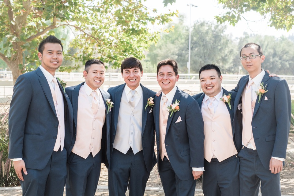 Groomsmen in dark grey