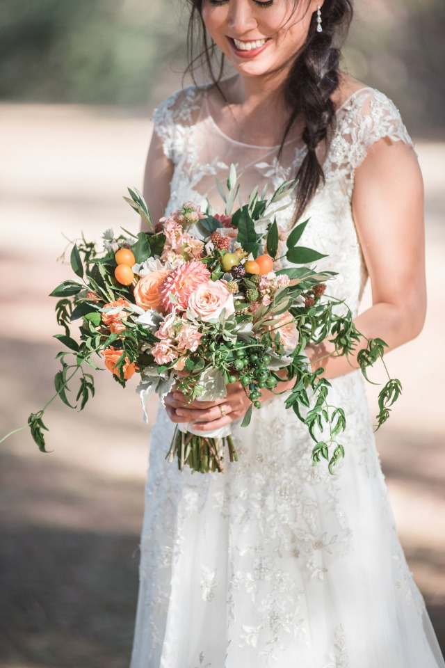 Freshly picked wedding bouquet