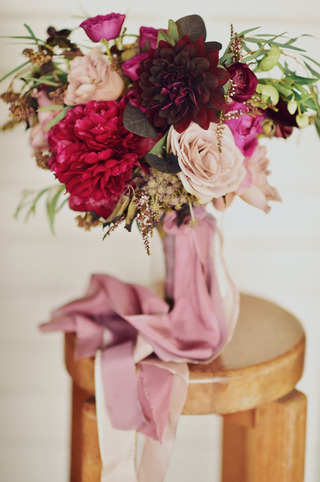 Burgundy and blush rose arrangement