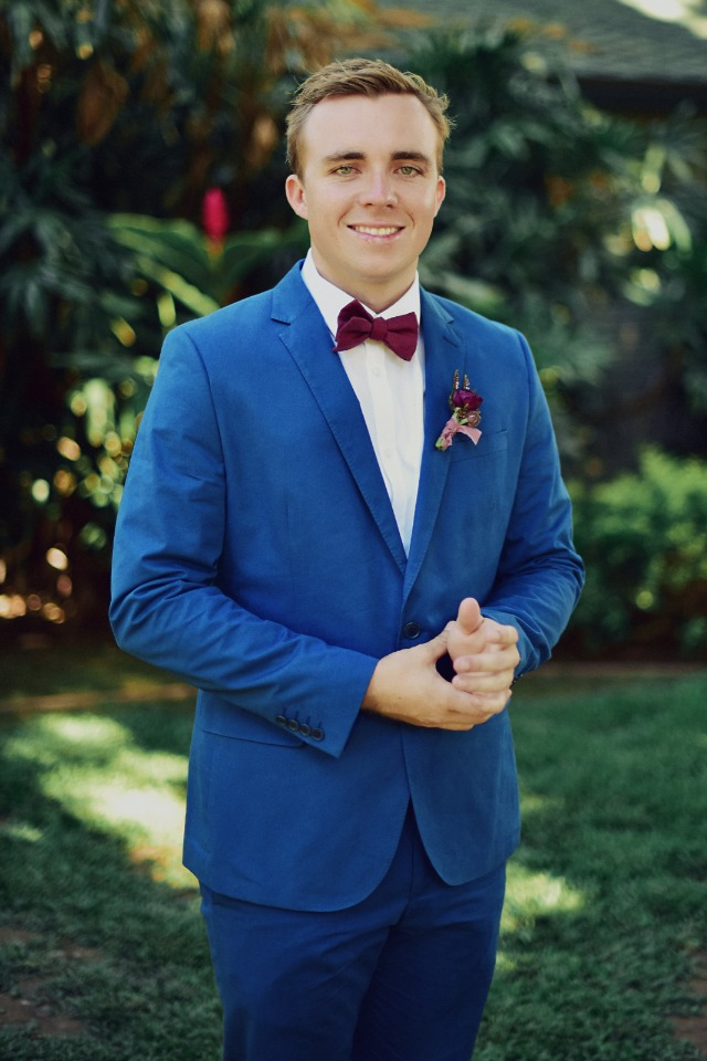 Burgundy and blue grooms look