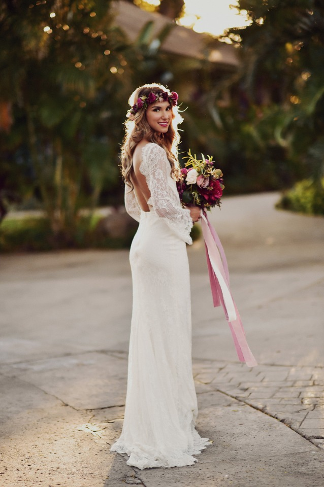 Boho chic bridal look with flower crown