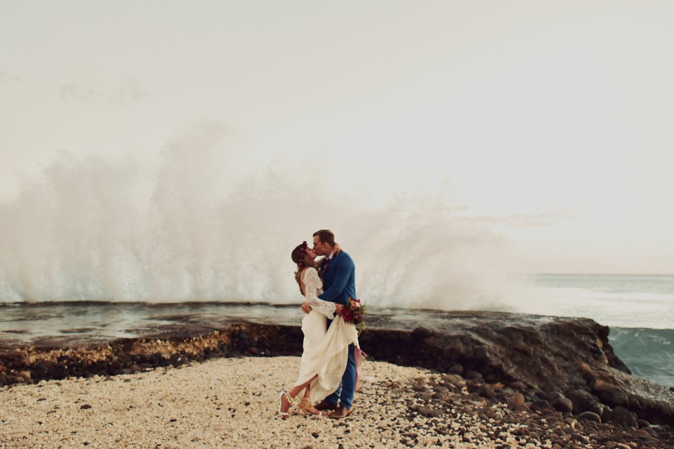 Wave crash wedding photo