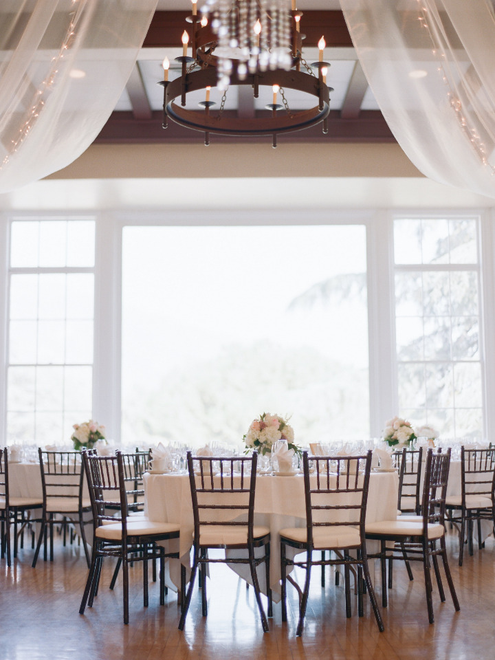 white and pink wedding reception