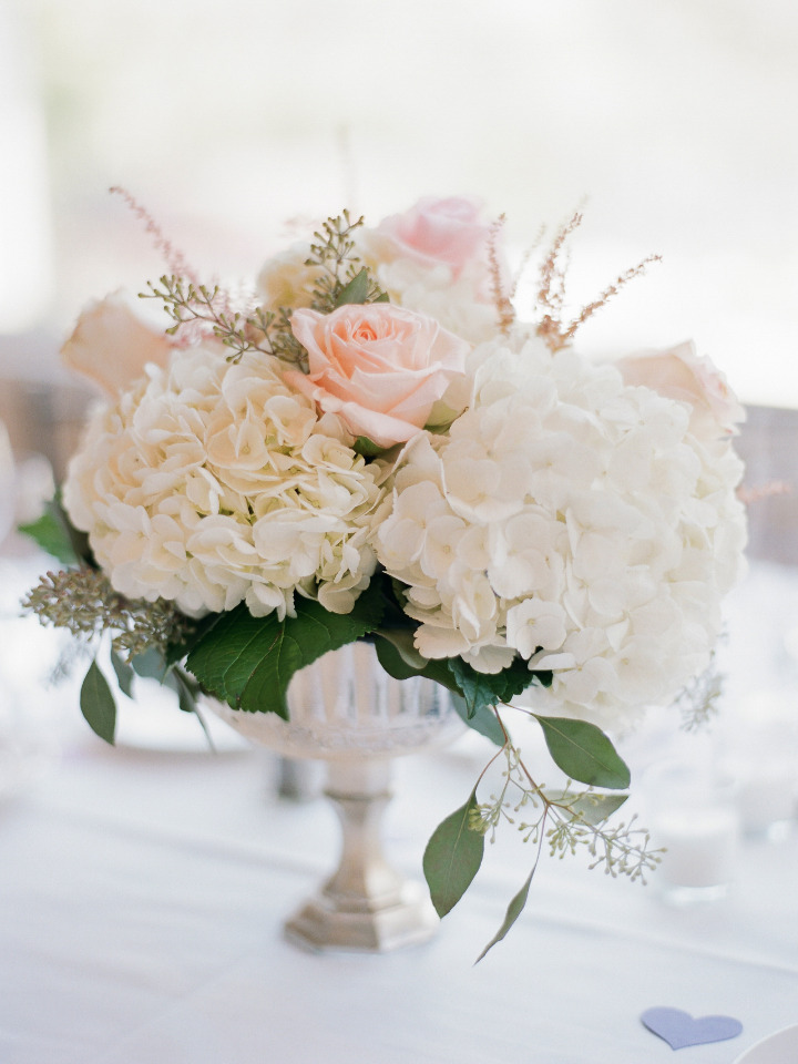 pink rose and hydrangea wedding centerpiece
