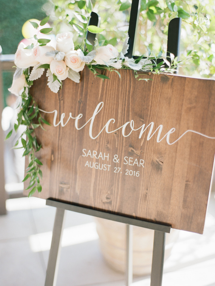 wood white script wedding welcome sign