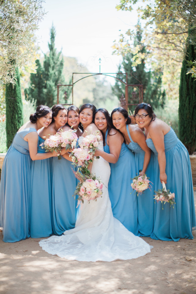 blue floor length bridesmaid dresses