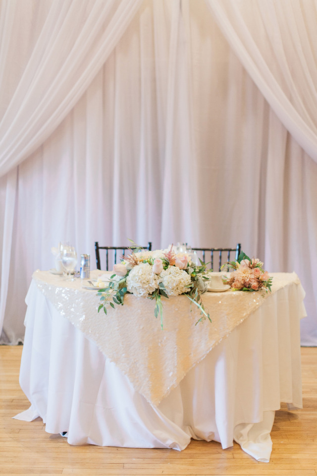 pink and white wedding sweetheart table