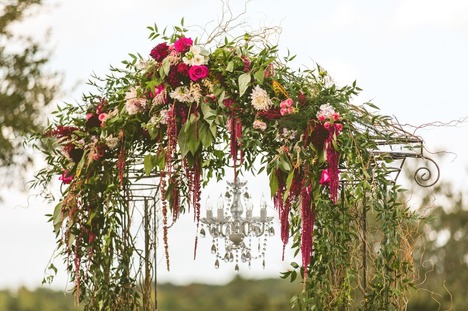 cascading wedding garland draped arch