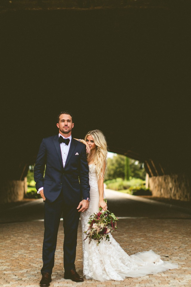 bride and groom looking very chic