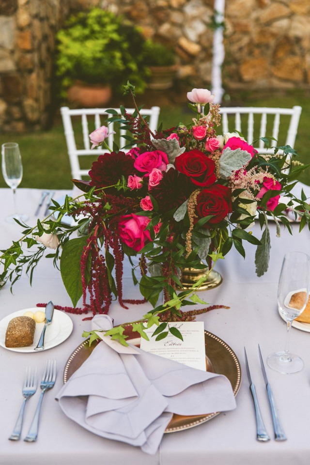 grey gold and maroon place setting
