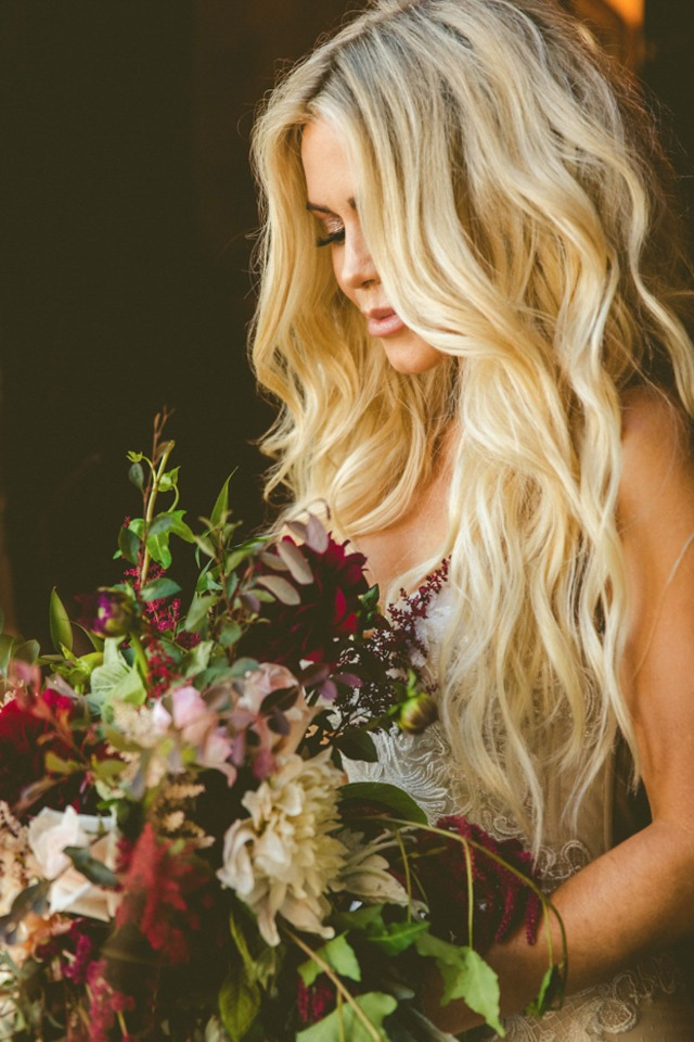 maroon and antique style bouquet