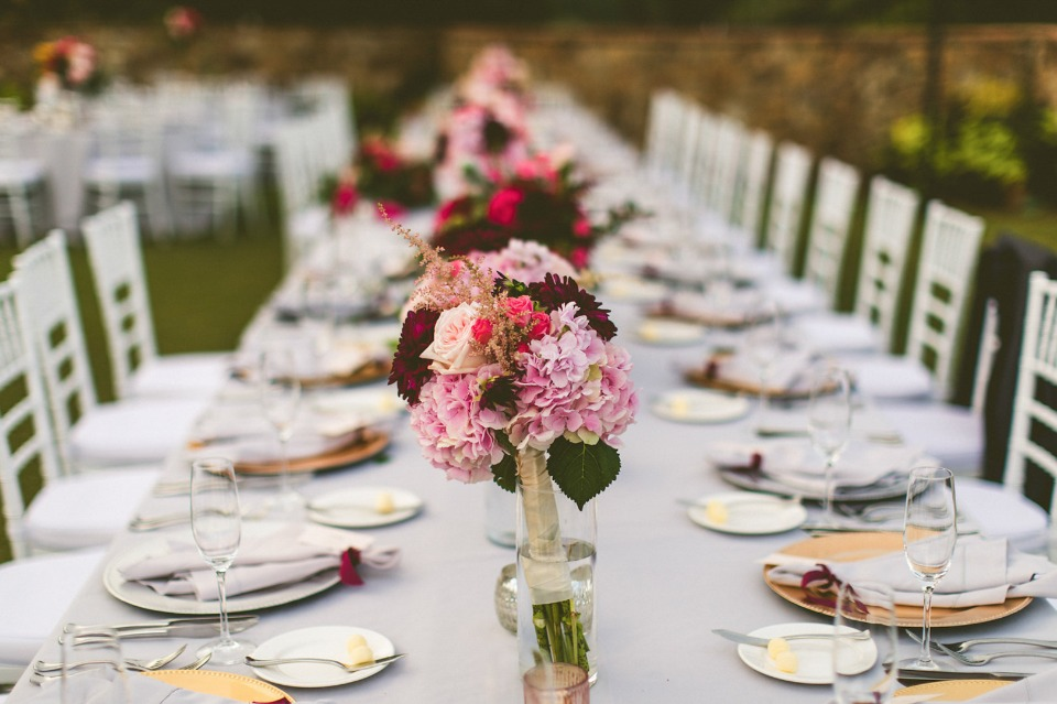 garden party chic with gold grey and maroon
