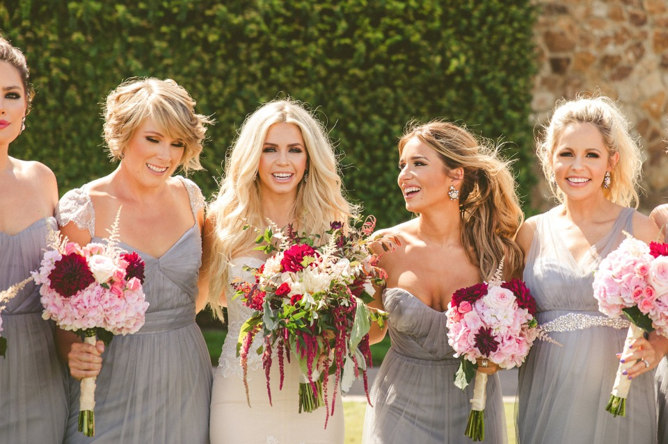 bridal party in grey with link and maroon bouquets