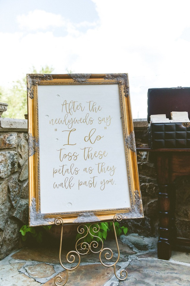 petal toss wedding sign