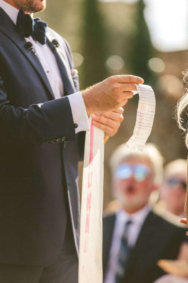 grooms vows on roll of receipt paper