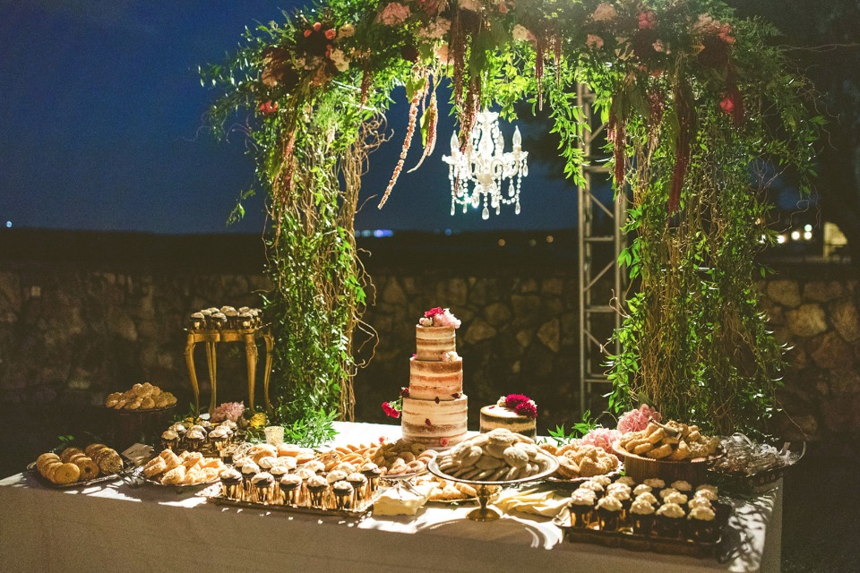 back lit cake and dessert table