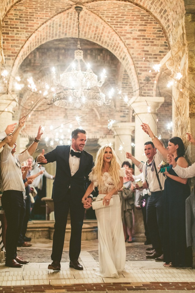 beautiful sparkler wedding exit