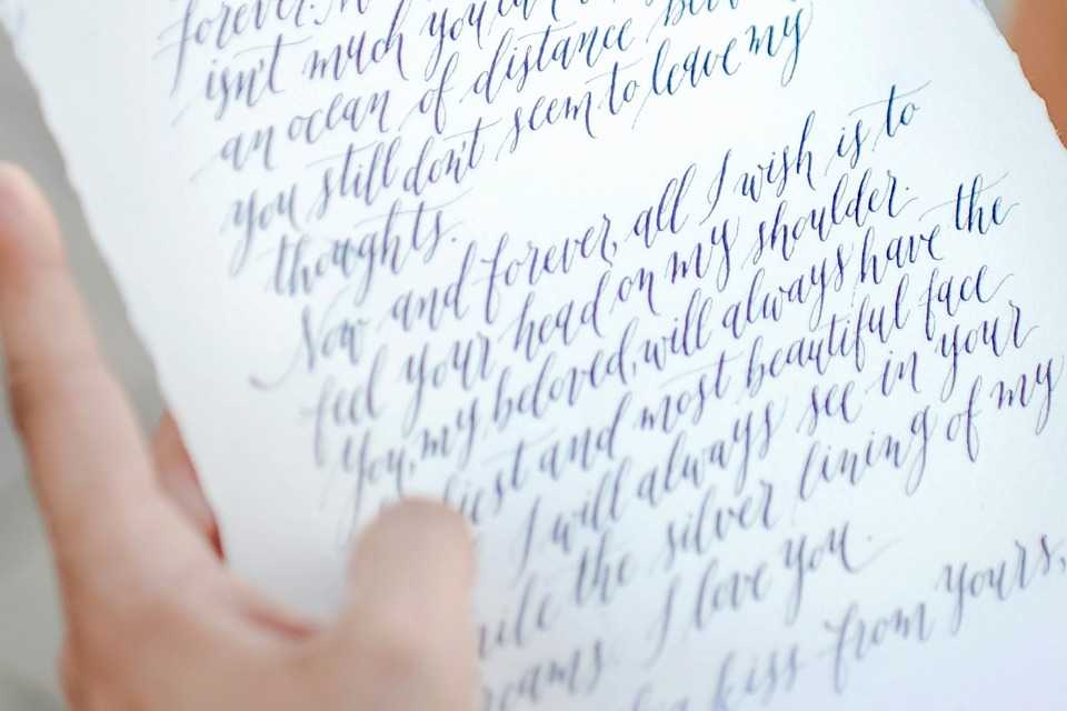 calligraphy love note wedding vows
