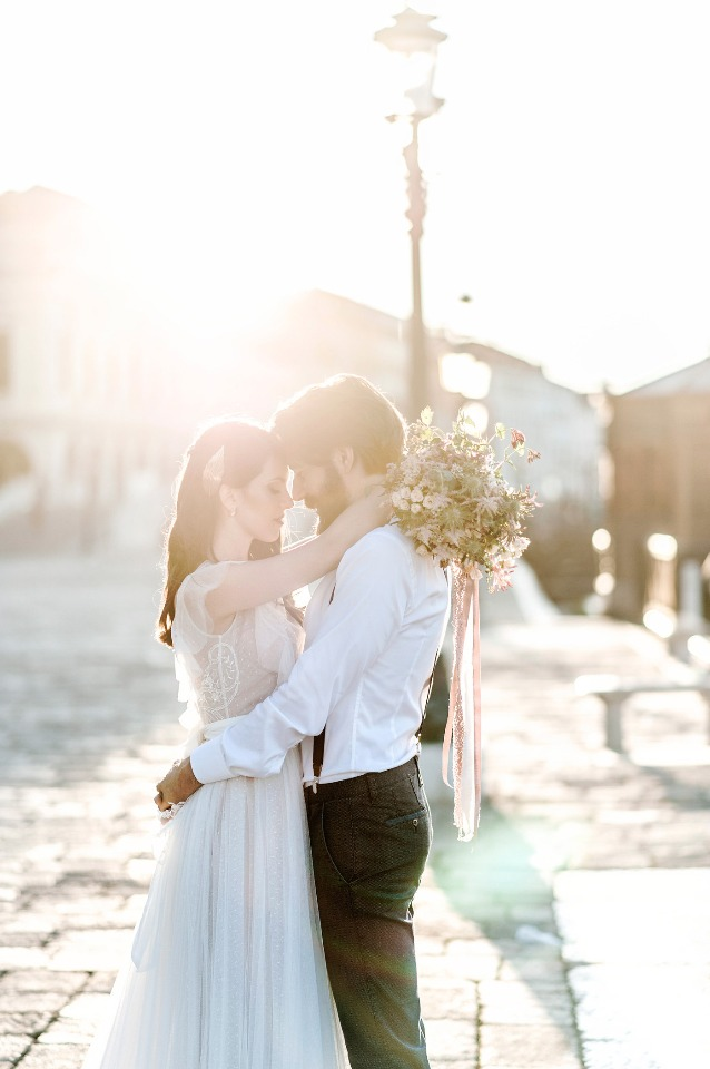 morning golden hour wedding photo