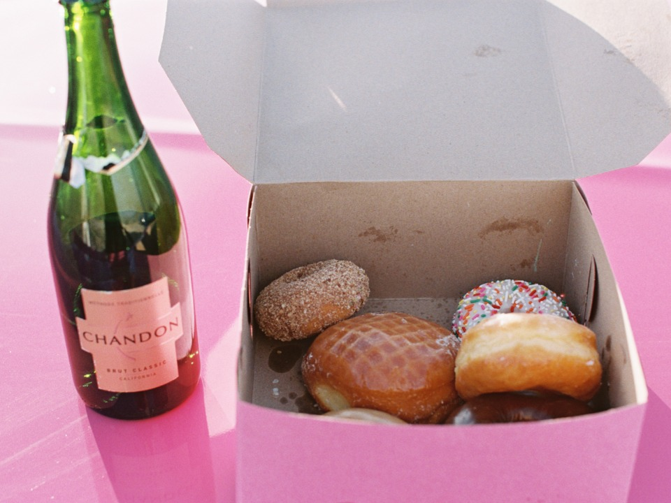 Donuts and champagne elopement celebration