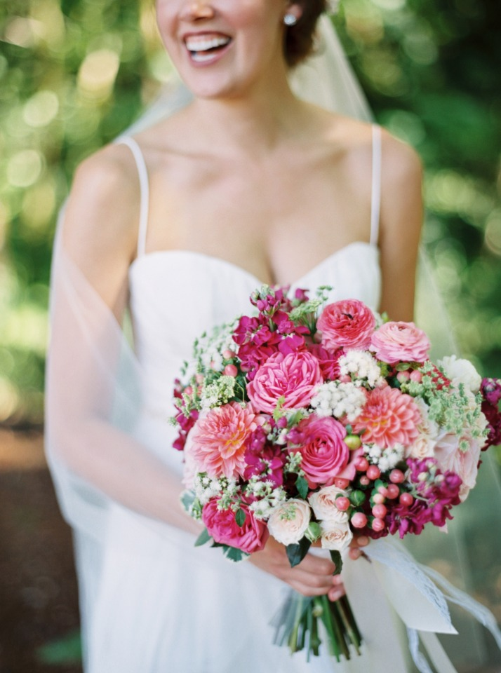 Pops of pink bouquet