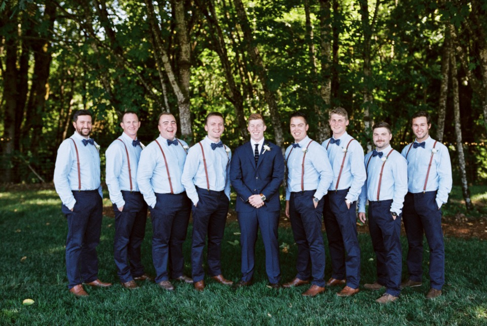 Groomsmen in bowties and suspenders