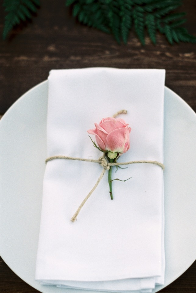 Simple rose and twine place setting ideas