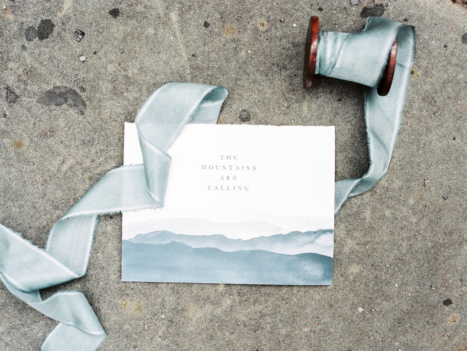 watercolor mountain stationery