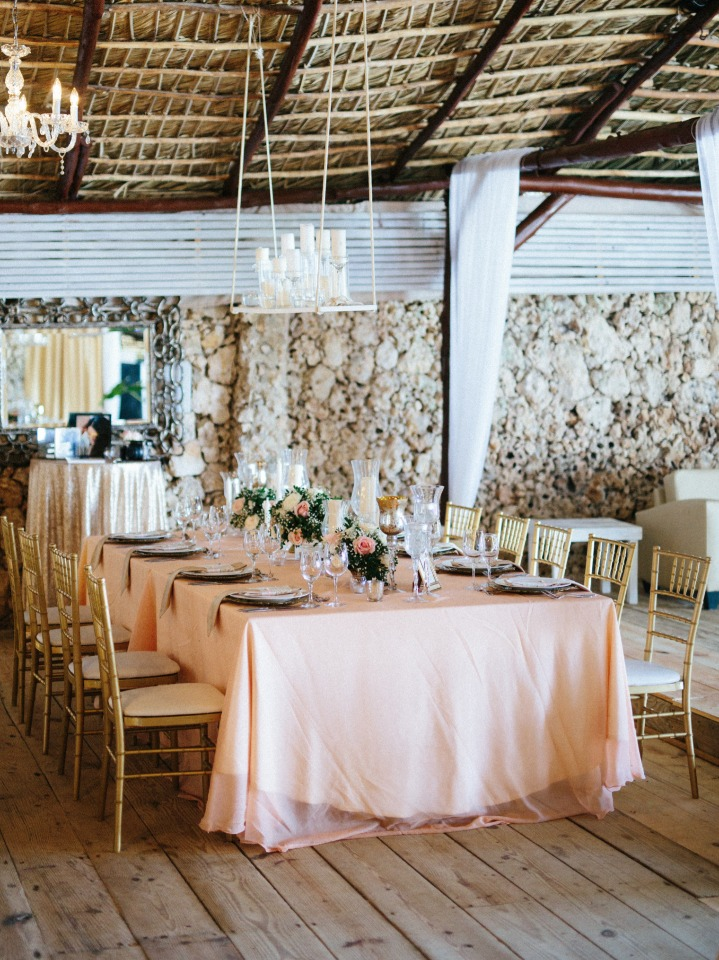 wedding reception in peach and gold