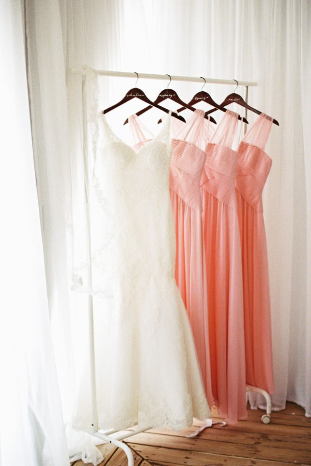 bubble gum pink bridesmaid dresses