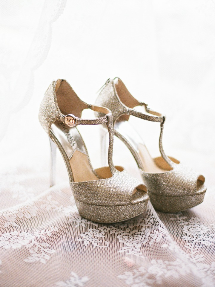 glittery gold wedding shoes