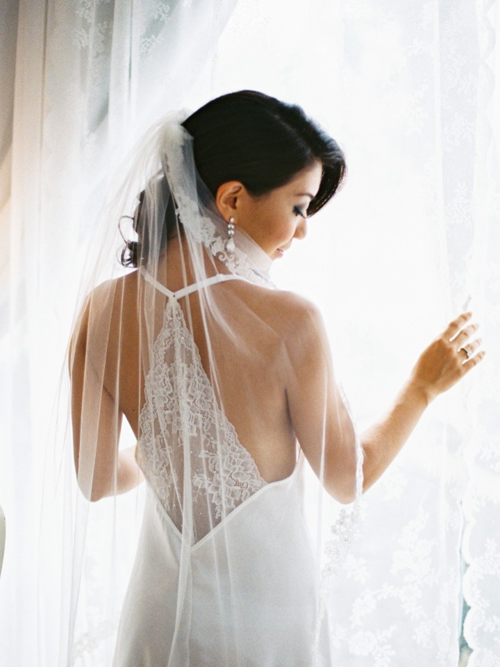 elegant getting ready bride outfit