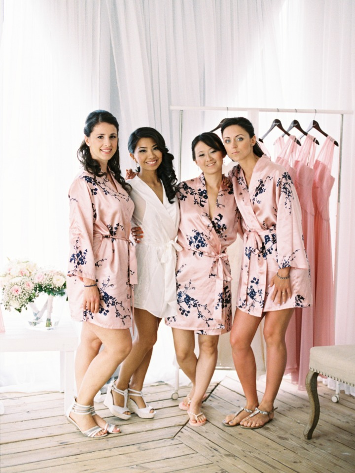 pink floral getting wedding ready robes