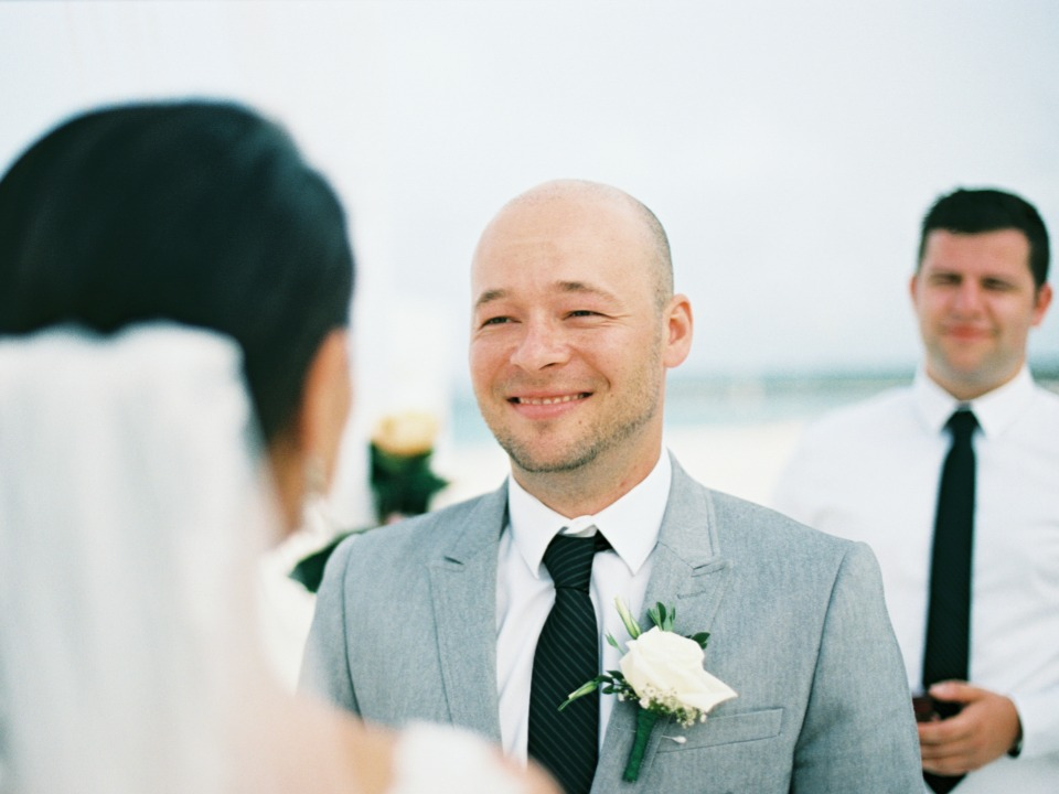 sweet smiling groom