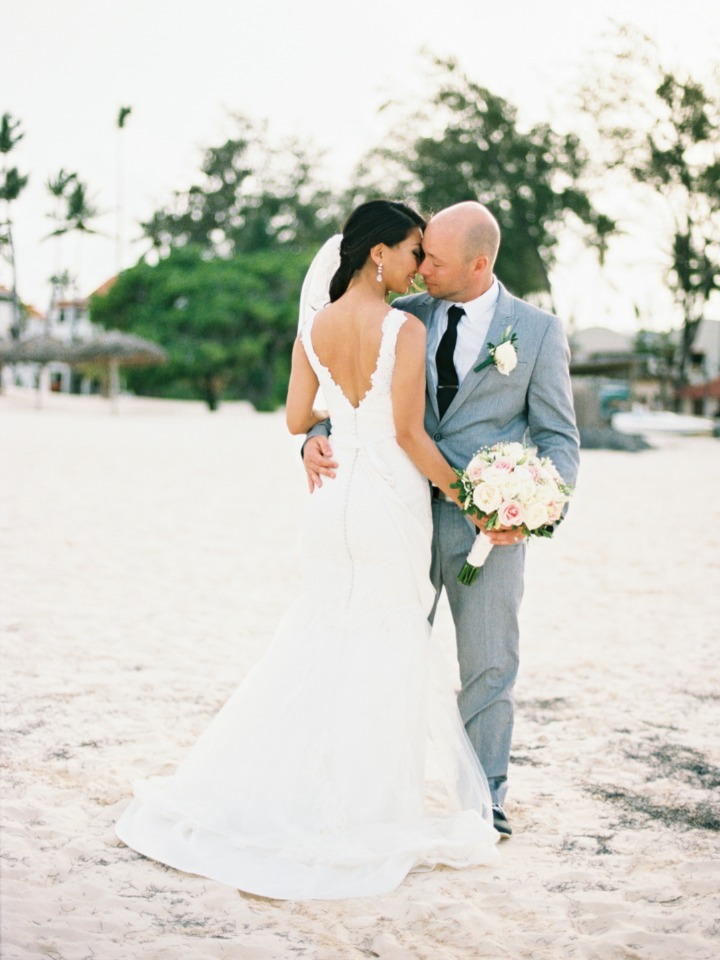 sweet wedding couple on the beach