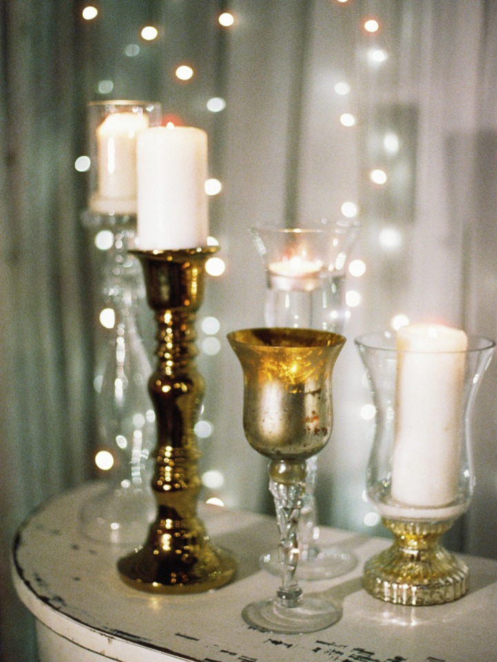 gold and silver wedding candle sticks
