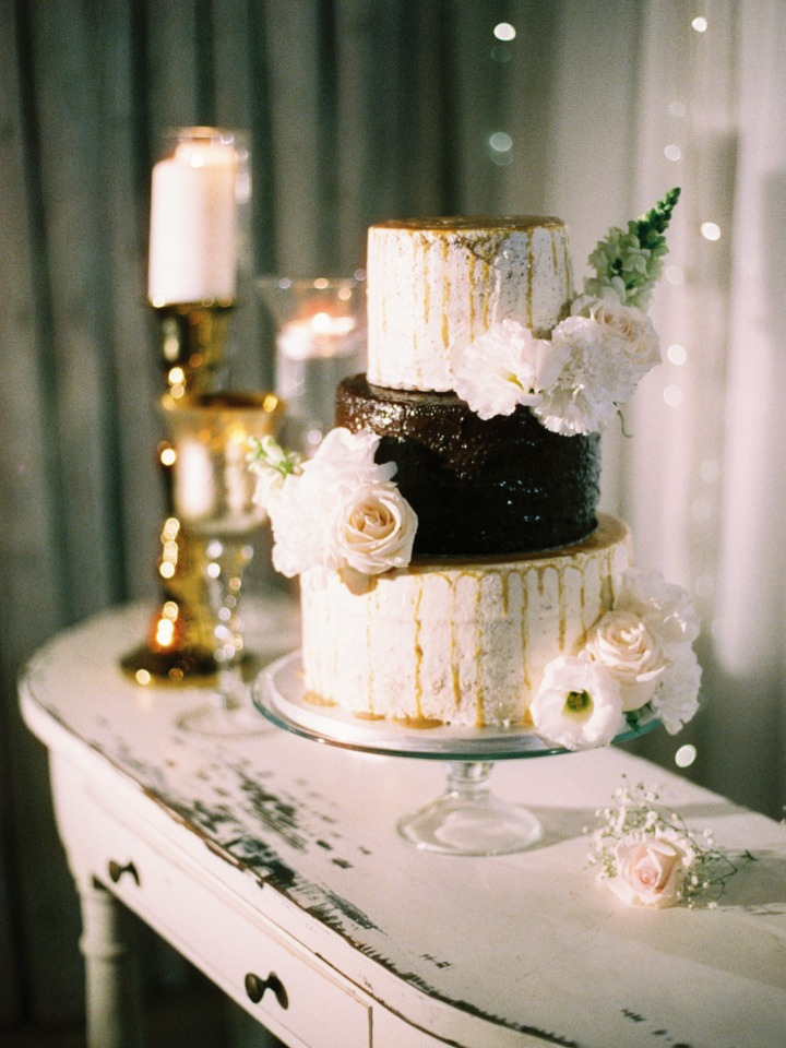 wedding cake with caramel drizzle