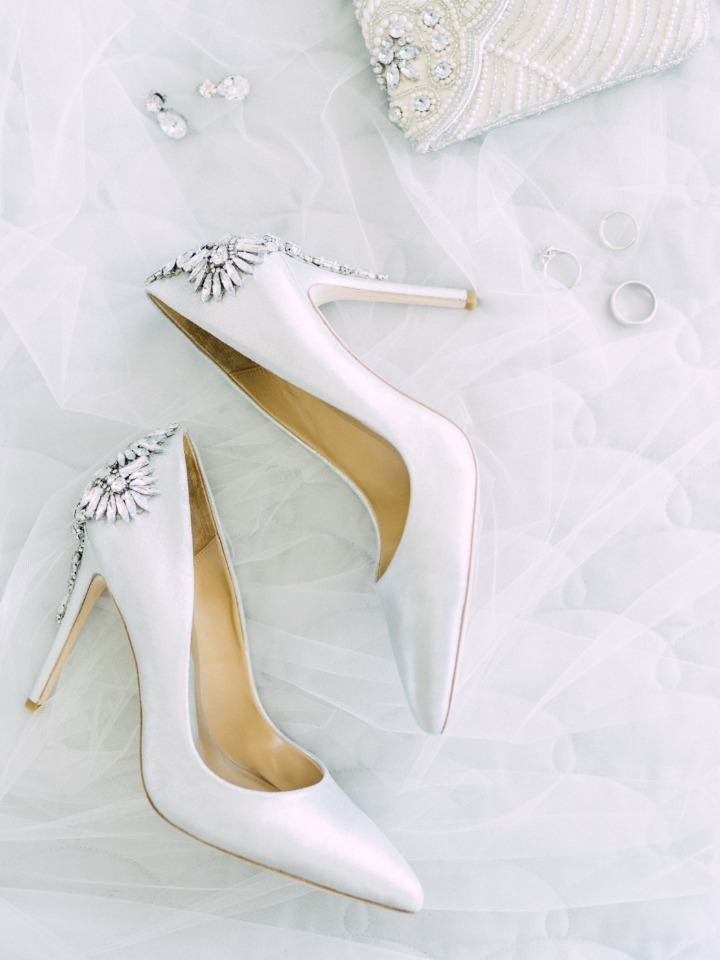 white and sparkly wedding shoes