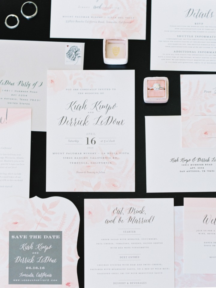 blush accented wedding stationery